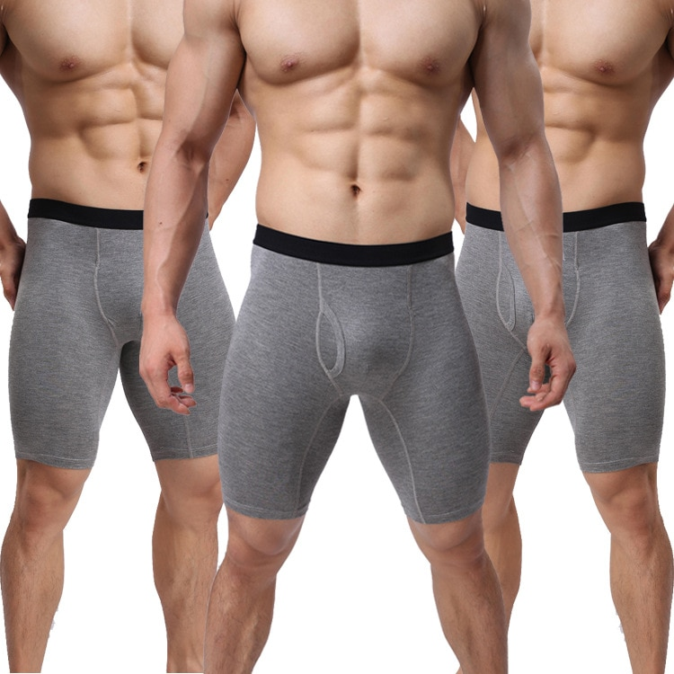 EU Size Mens Underwear Cotton Mid Rise Boxer Shorts Lengthen Anti-chafing Legs Riding Sport Trunks For Cycling Running