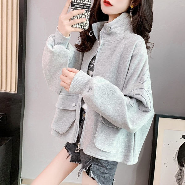 Fashion Short Coat Women Loose Korean 2021 Spring Autumn New Cardigan Solid Letter Hong Kong Style A