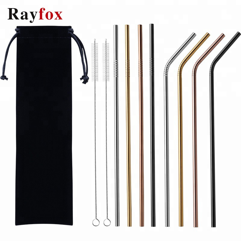 KItchen Accessories Gadget Reusable 304 Stainless Steel Drinking Straws Metal Drinks Cup Straw With Clean Brush Cozinha Criativa stainless steel straws titanium plated colored metal straws environmentally friendly innovative for drinks milk tea