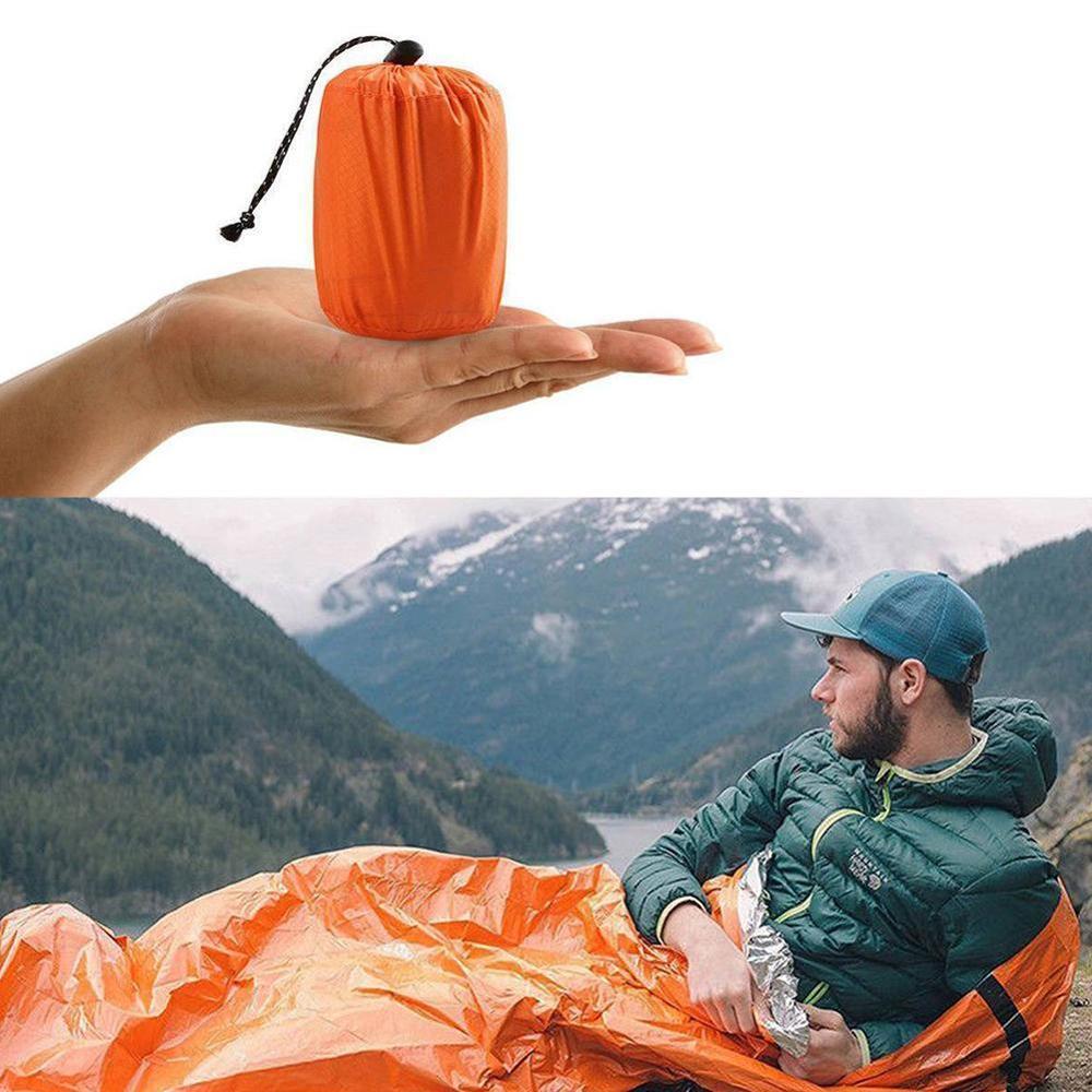 Saco de dormir de emergencia ultraliviano naranja de 200x90cm, impermeable, portátil, PE, película de aluminio, exteriores, para acampar (con bolsa de almacenamiento)