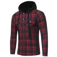 hooded shirt men fashion hip hop streetwear plaid shirt men high street social checkered long sleeve shirts