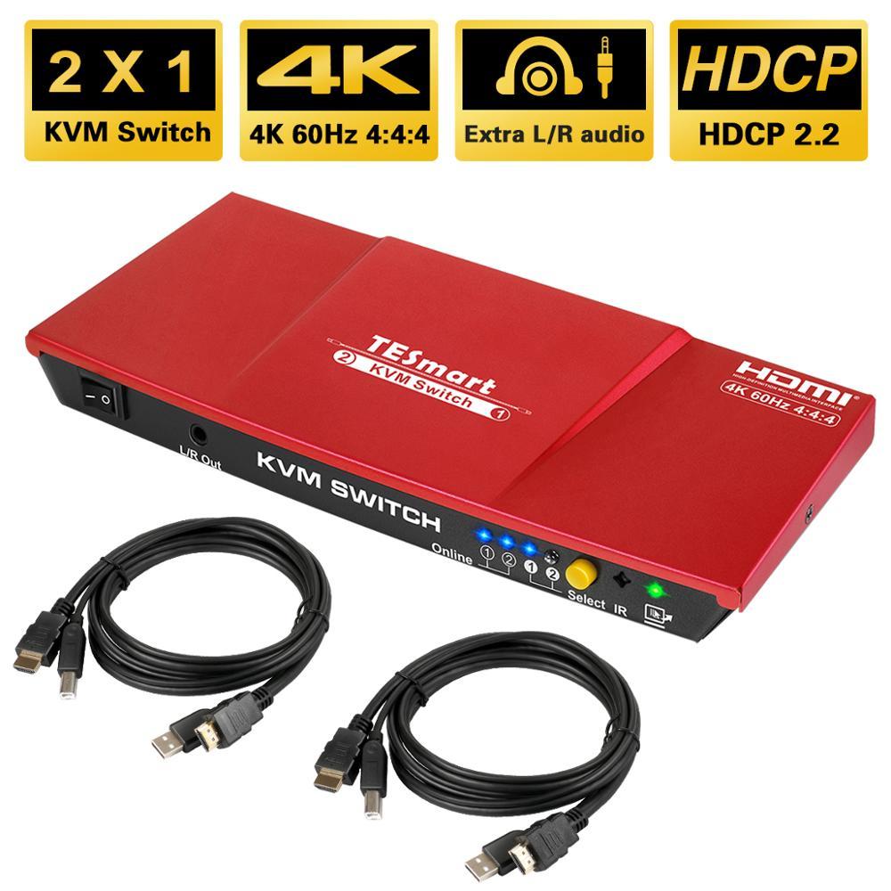 TESmart HDMI 4K @ 60Hz جدا HD 2x1 HDMI KVM التبديل 3840x2160 @ 60Hz 4:4:4 مع 2 قطعة 5ft KVM كابلات يدعم USB 2.0 الأجهزة المقاولات
