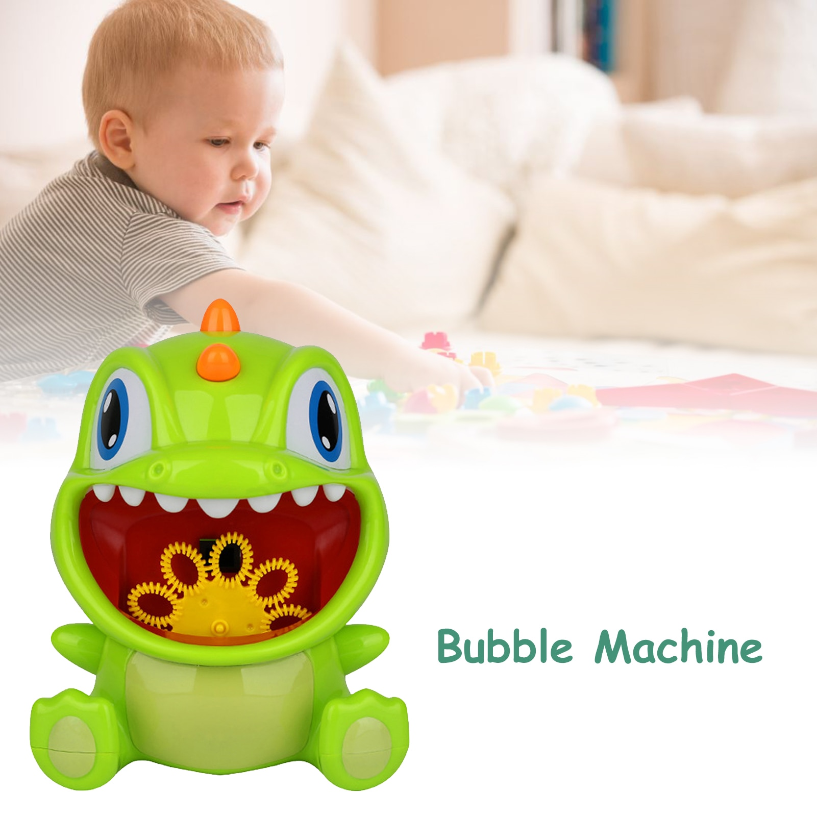 Cute Dinosaur Bubble Machine Automatic Soap Bubble Blower Maker Party Summer Durable Electric Outdoor Toys for Kids  - buy with discount