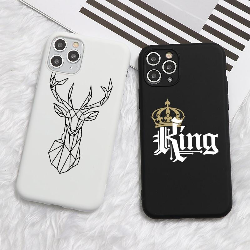 Funda de silicona blanda de TPU con dibujo de King Queen para iPhone 11 Pro XS Max X XR 8 6 6S 7 Plus 5 5S SE 2020 11Pro