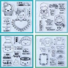 ZATWBS أنيمي مجموعة كبيرة واضحة Stamps DIY بها بنفسك سكرابوكينغ/بطاقة صنع/ألبوم الزخرفية المطاط ختم الحرف