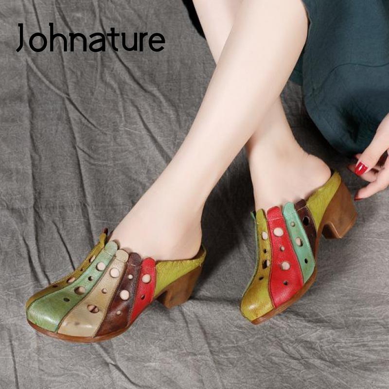 حذاء نسائي جديد من جلد طبيعي من Johnature موديل 2021 خف نسائي صيفي مصنوع يدويًا ملون بأشكال مختلفة للخياطة