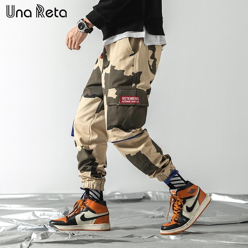 Una Reta pantalones de los hombres de la primavera de 2020 nuevo Casual camuflaje camisetas pantalones ribete Hip Hop Pantalones Hombre Streetwear Harajuku Pantalones