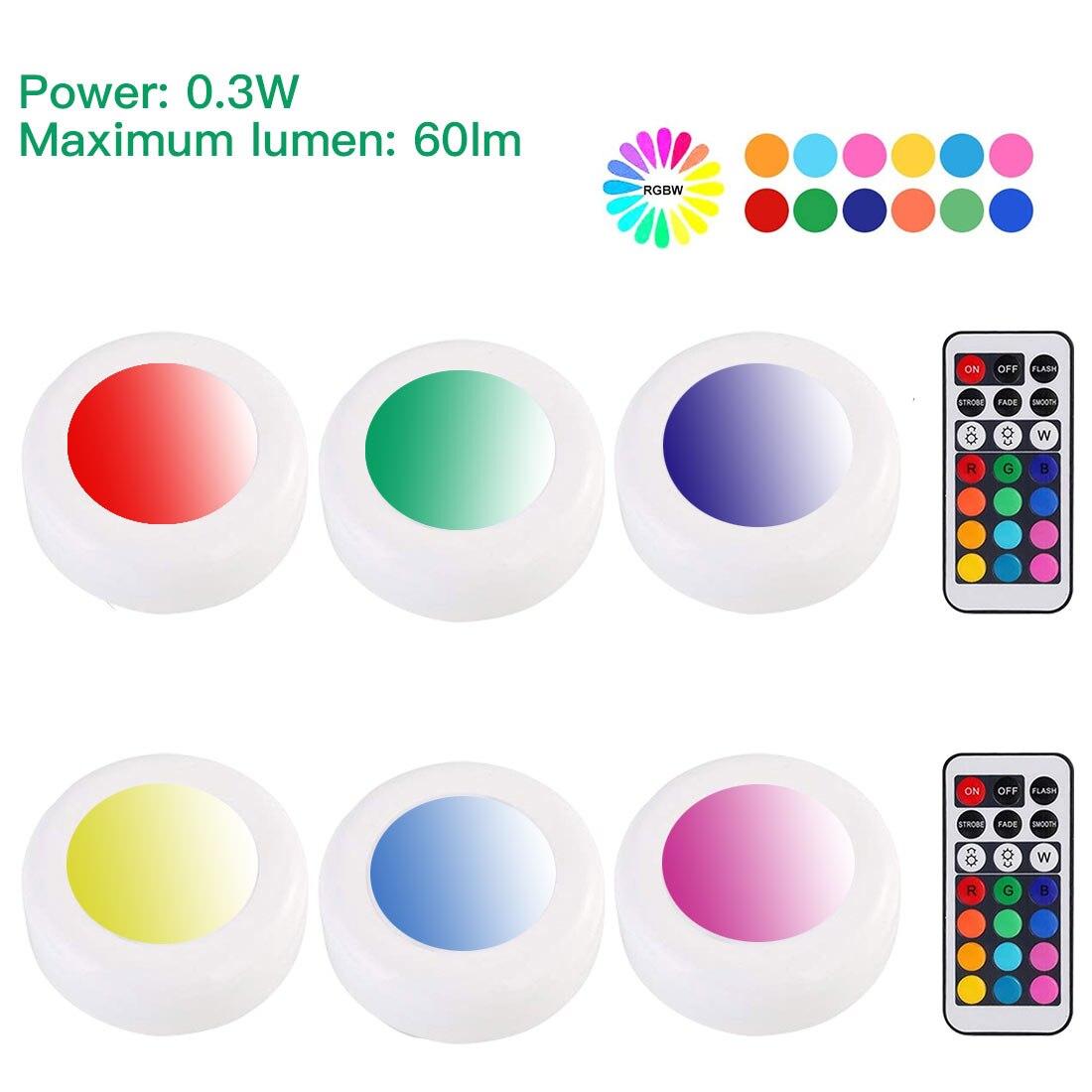 Under Cabinet Lights 6 Pack, LED Lights Remote Control Kitchen Wardrobe Lights Natural Warm White Brightness