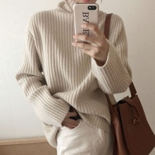 Autumn Women Clothes 2021 Turtleneck All-match Loose Sweater Japanese Lazy Style Retro Pullover Fash