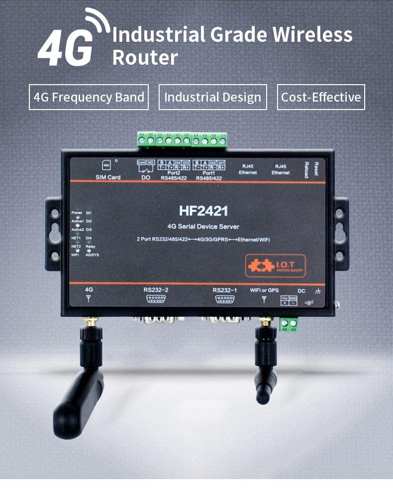 4G DTU LTE HF2421 4G Double Port 4G Serial Device Server 4G 3G GPRS Network Converter Router