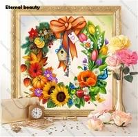 Peinture de diamant Festival fleurs  perceuse complete  mosaique  broderie complete  point en croix  pour decoration murale de maison  images dart