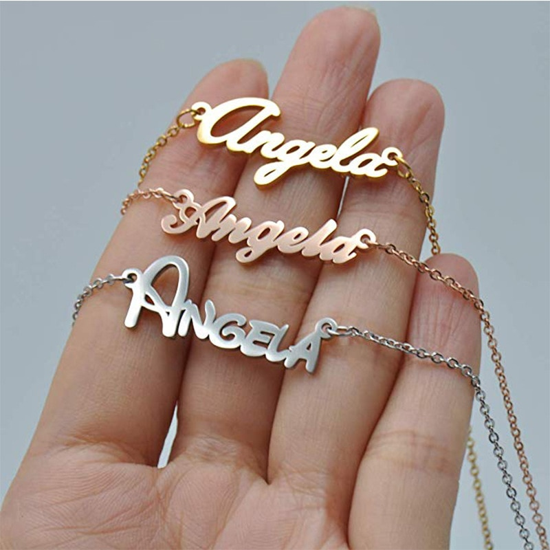 Personalized Name Necklace for Women Customized Nameplate Necklaces Custom Stainless Steel Old English Style Gold Jewelry Gifts hip hop jewelry cuban chain customized nameplate necklaces for women men punk gold tone solid personalized custom name necklace