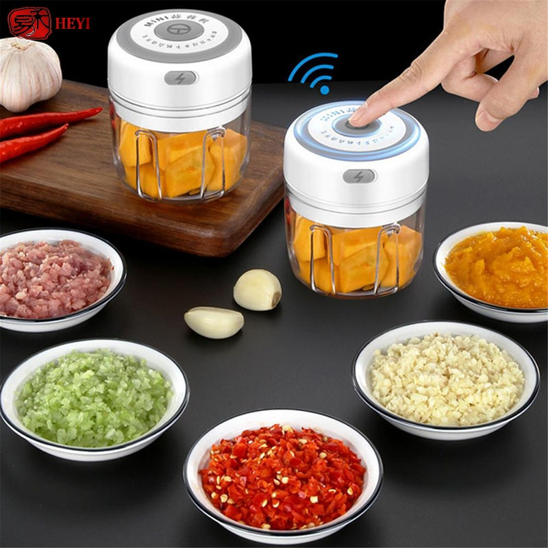 100/250ml Garlic Masher Press USB Wireless Electric Mincer Vegetable Chili Meat Grinder Food Crusher Chopper Kitchen LLF