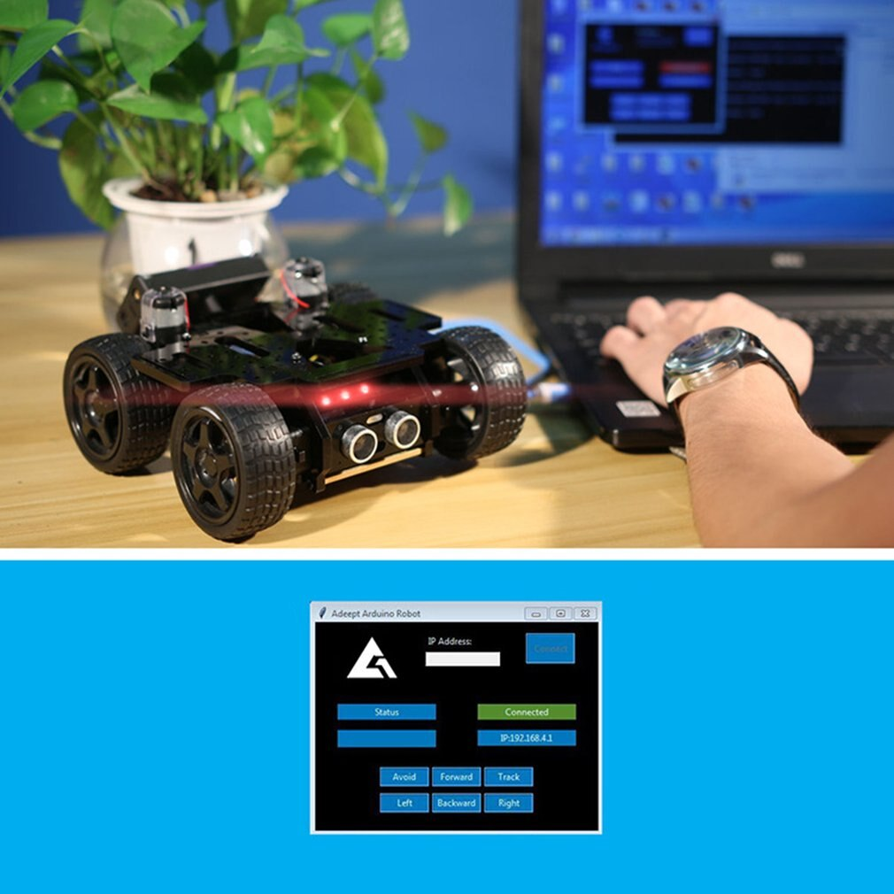 Four Wheel Mechanical Arm Car Open Source Code App Control Automatic Obstacle Avoidance Intelligent Robot