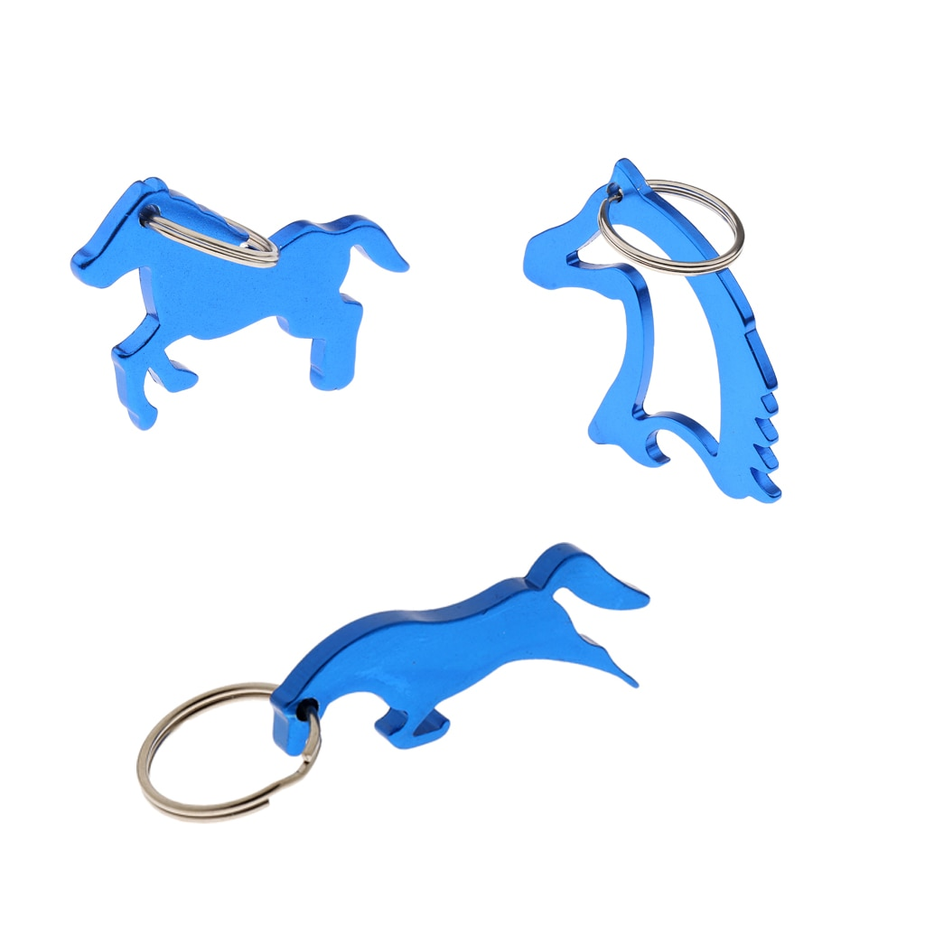 3 uds. De aleación de aluminio caballo abrebotellas llavero bolsa llaveros con colgante boda fiesta regalos azul