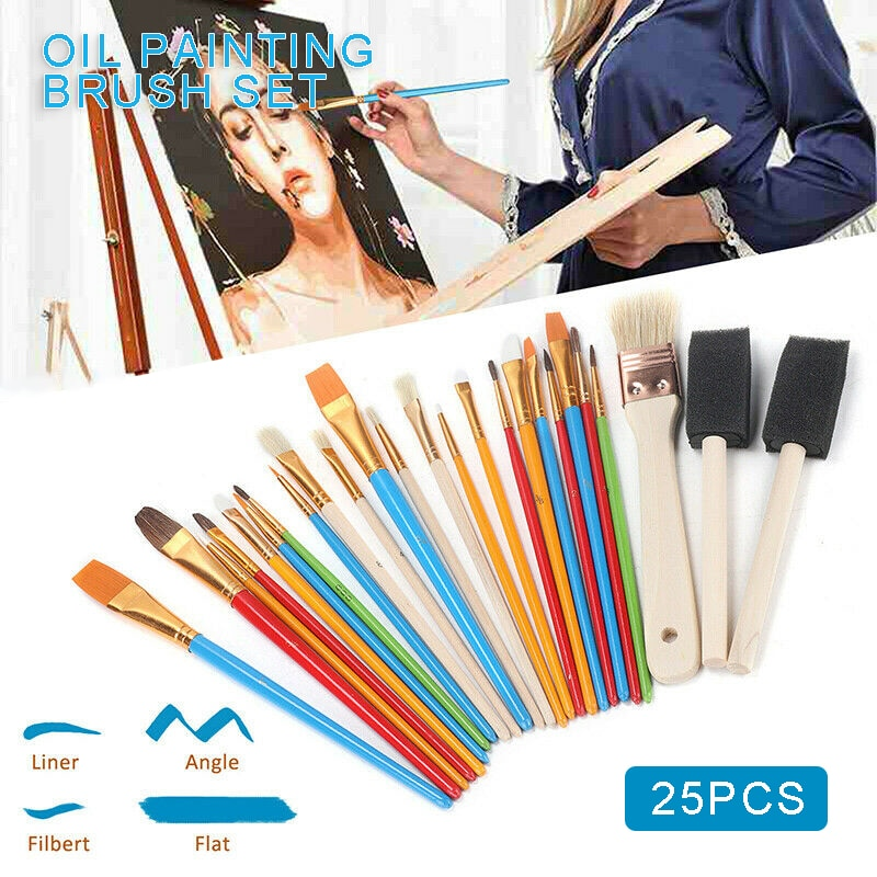 25Pcs Multifunctional Painting Brushes Watercolor Gouache Paint Brushes Pointed Tip Nylon Hair Painting Brush Set Art Supplies