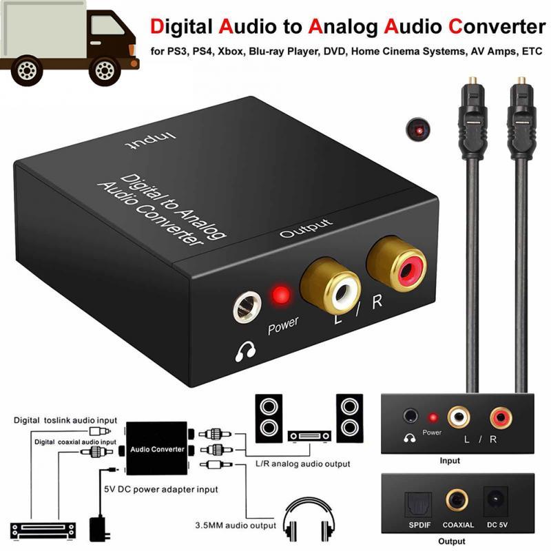 Óptico coaxial Toslink convertidor de Digital a analógico RCA L/R Adaptador de...