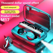M17 TWS Wireless Earphone Bluetooth-compatible Flashlight Headset LED Display Waterproof Touch contr