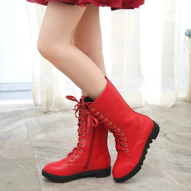 Brand Children's Boots New Winter Cashmere Warm Genuine Leather Kids Shoes Fashion Girls Snow Shoes Cotton Shoes KS165 enlarge