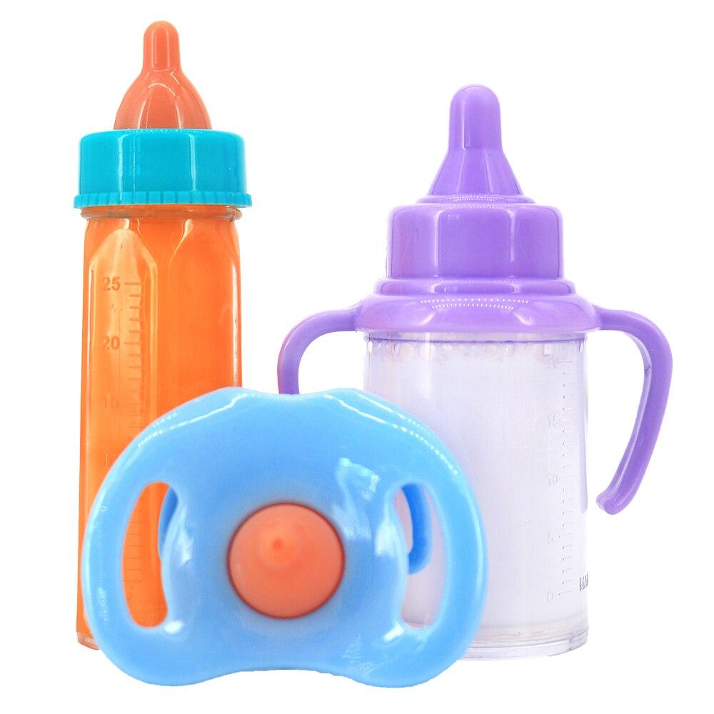 Apto 18 polegada bebê recém nascido americano boneca acessórios menina mágica garrafa de leite chupeta suco garrafa boneca brinquedo conforto