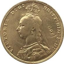 24-K pozłacane brytyjski monety kopia 1891