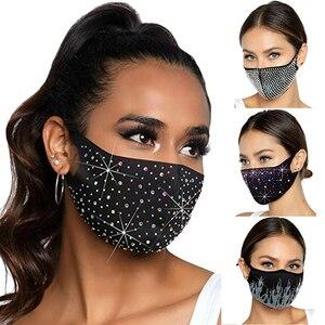 Black Dustproof Diamond Mask Pearls Rhinestone Mask Decor Jewelry for Face Reusable Fashion Masks for Women Desinger