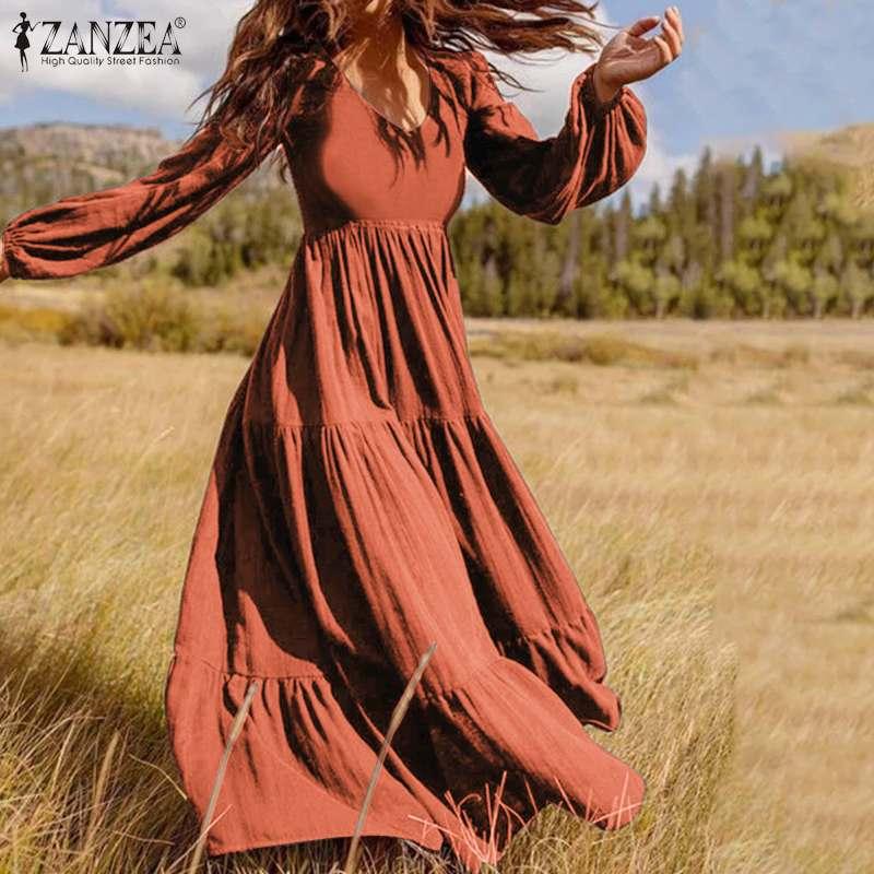 Zanzea vestidos de outono feminino 2020 elegante plissado maxi vestido puff manga túnica vestidos femininos sólido casual robe plus size 5xl
