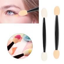 10pcs/set Soft Sponge Tipped Oval Stick Eye Shadow Applicator Disposable Double-head Eyeshadow Brush