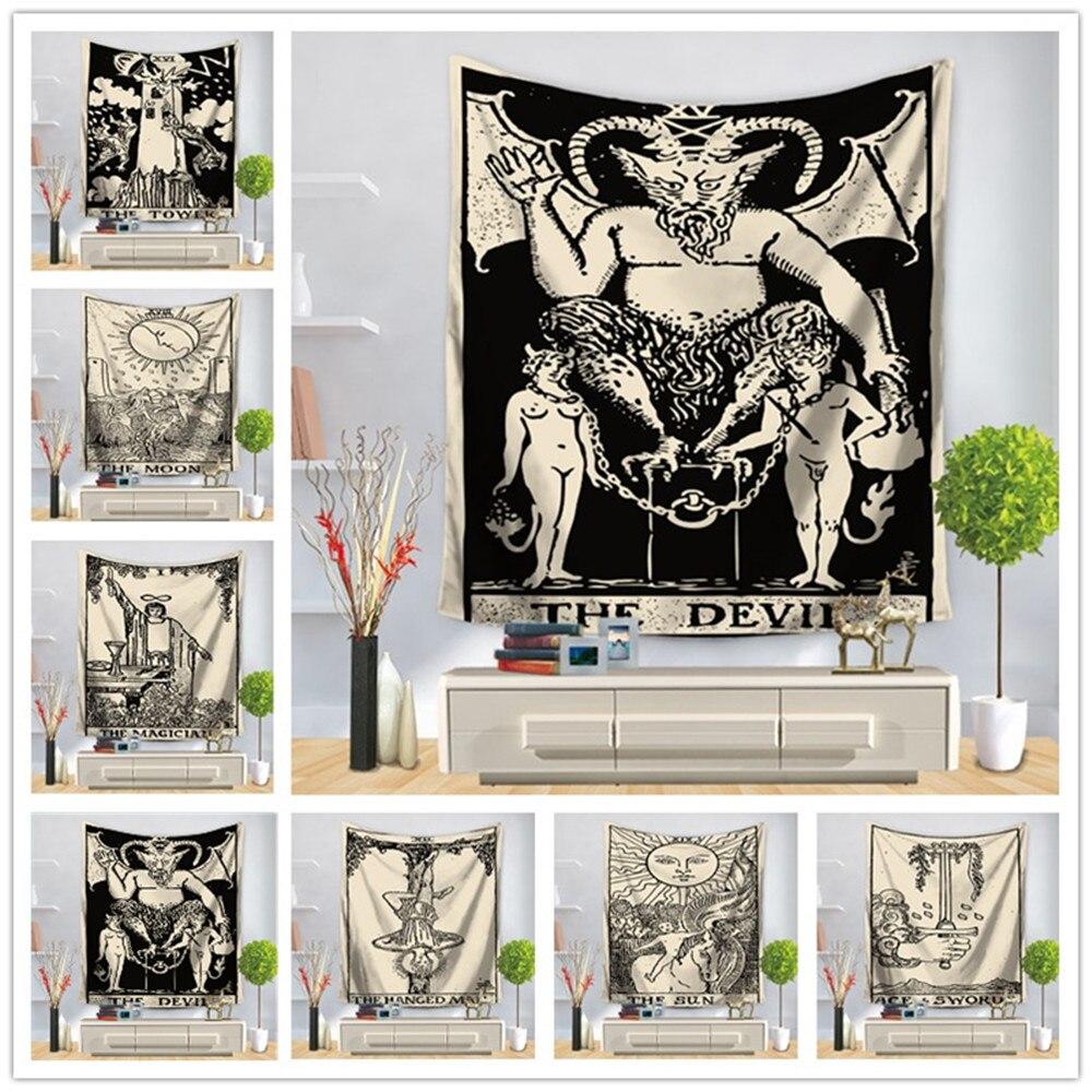 Tapeçaria tarô parede pendurado bege & preto mandala estilo imprime casa têxtil quarto decoração tecido 3 tamanho fornecimento de parede-tapete
