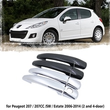 Black Carbon Fiber Car handle Or ABS Chrome Door Handles Cover for Peugeot 207 207SW SW CC 2006~2014