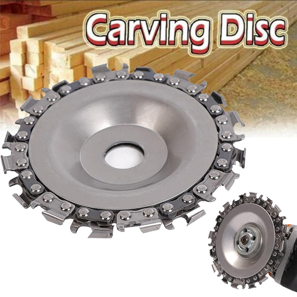 1pc disc for wood carving woodworking chain grinder chain saws cutting disc chain plate tool for angle grinding 5 inch 4 inch Wood Carving Disc Woodworking Chain Grinder Chain Saws Disc Chain Plate Tool for 102MM Angle Grinding  4 inch
