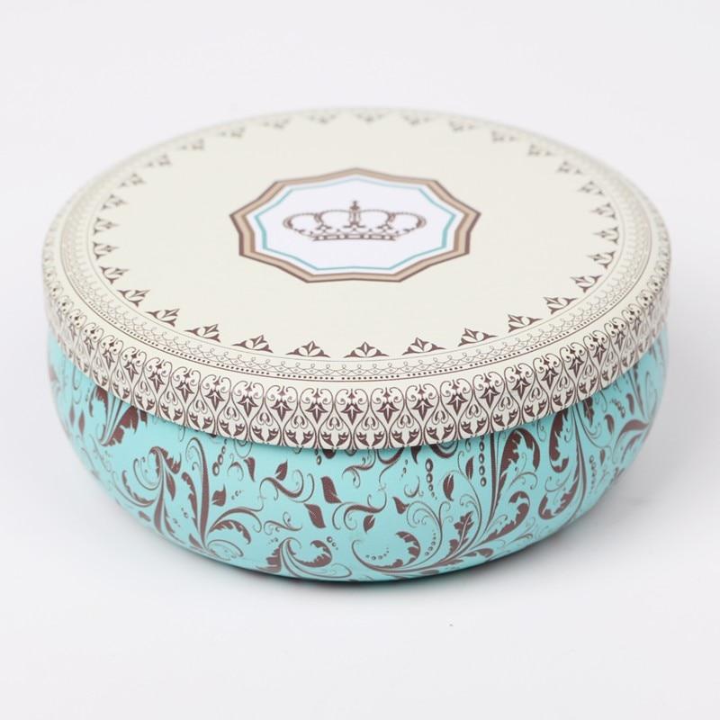 Купить с кэшбэком Multi-Style Printing Portable Round Tea Sugar Coffee Storage Box Tin Box Kitchen Flower Drawing Style Mousse Cake Packaging Gift