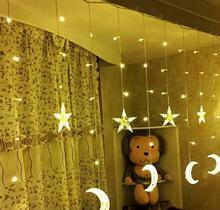 LED ay perde ışık saçağı ışık LED Pentagram noel gün fener dekorasyon ışıkları
