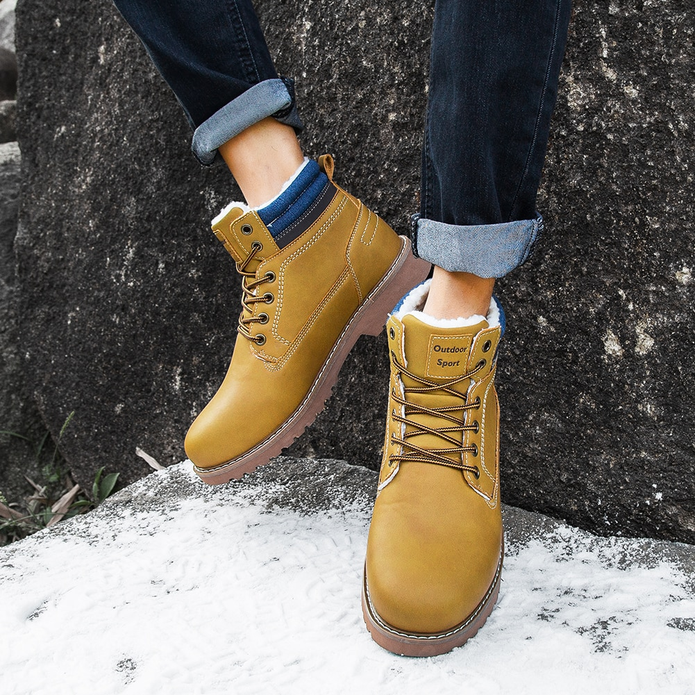 Winter Snow Boots for Men Fashion Leather Ankle Boots Outdoor Male Lace Up Non-slip Booties Work Casual Shoes Timber Boots