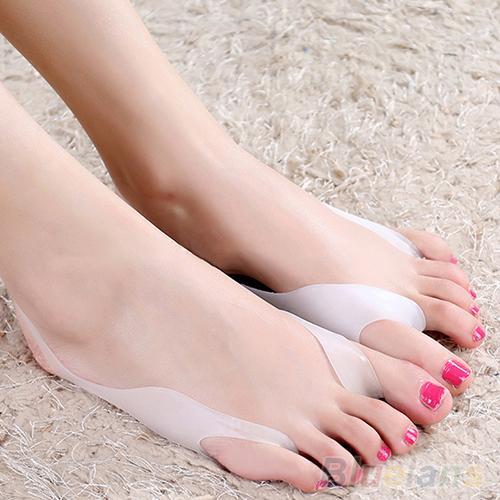 2 pçs silicone hallux valgus bunion alívio footcare toe separadores straightener