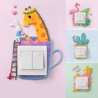 3d wall sticker cartoon animal wall on off sticker silicone switch cover good looking room decor cute pu home accessories