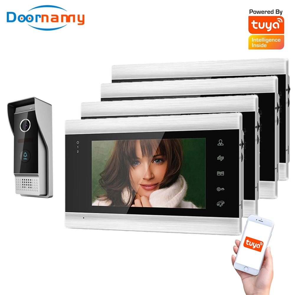 Doornanny Villa Apartment WiFi Video Intercom System 1 To 4Monitors Tuya Doorbell Doorphone Video Call Intercom Kit AHD 720P