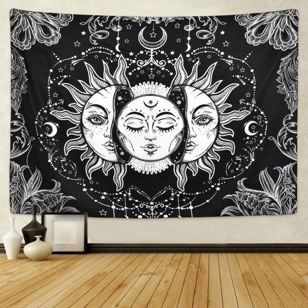 Exquisito tapiz de sol mantel manta de playa negro Retro Beach Mat pared arte cuadrado familia colgante ornamental cubierta de cama