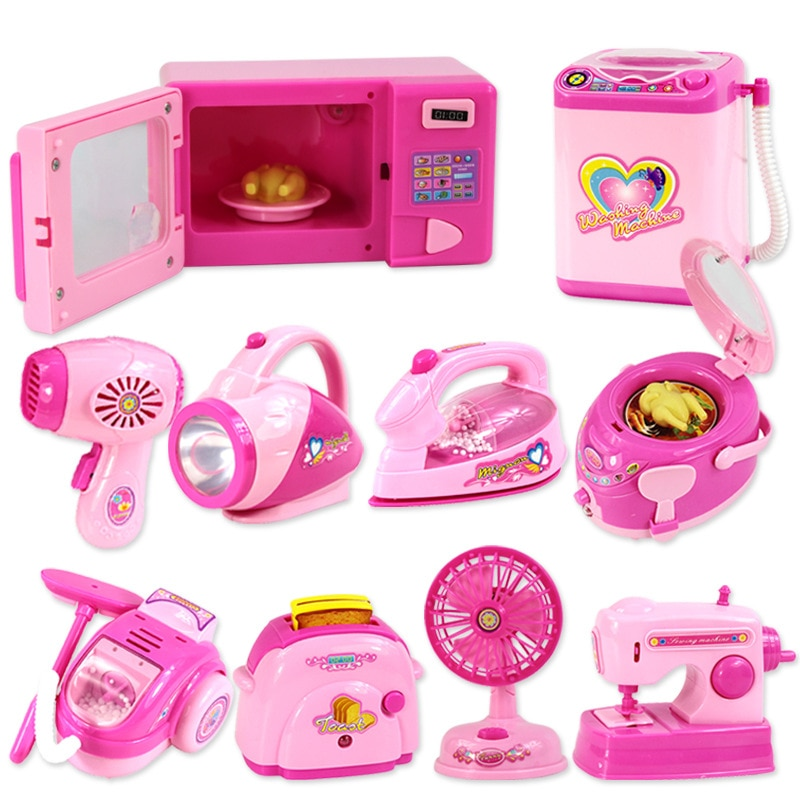 Household Appliances Pretend Play Kitchen Toys Coffee Machine Toaster Blender Vacuum Cleaner Cooking