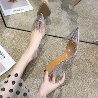 high heeled sandals womens 2020 summer point pvc wear thin heeled sandals net red small fresh womens shoes