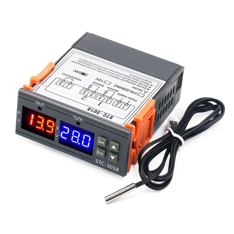 STC-3018 Digital LED Controlador de temperatura termostato termoregulador incubadora 12V 24V 110V 220V Controlador de temperatura