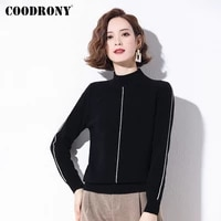 coodrony brand winter new elegant high quality women slim striped sweaters casual knitted female merino wool jumpers w1239
