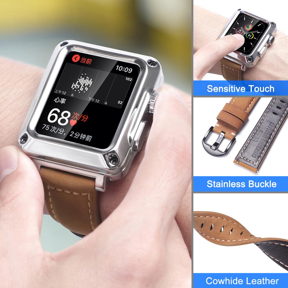 For Apple Watch Metal Case Leather Band 44mm 42mm 40mm 38mm Protective Tempered Glass Cover Strap for iwatch 6 SE 5 4 3 2 1 enlarge