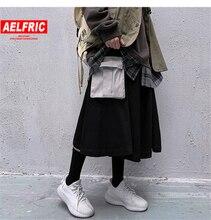 Aelfric 2020 Harajuku المرأة تنورة الشارع الشهير الورك الورك البضائع تنورة كبيرة جيوب جانبية تنورة الكورية فضفاضة ألف خط العجل طول Techwear