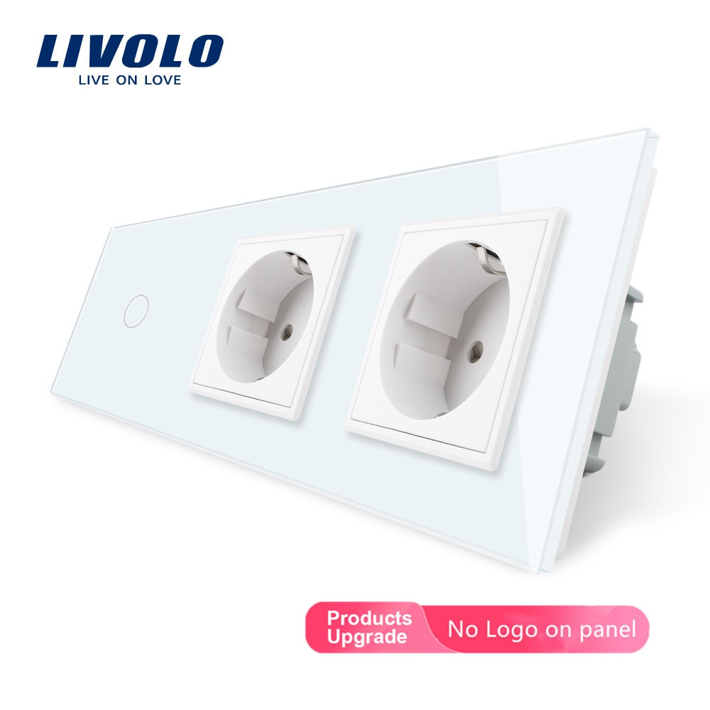 Nuevo enchufe de alimentación estándar Livolo EU, CA 220 ~ 250V, Panel de salida de cristal, 2 enchufes de pared con Interruptor táctil