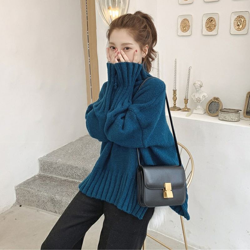 Autumn and Winter Women's Clothing Idle Style Loose Red Student T-shirt Turtleneck Thick Sweater Pullover Internet Celebrity enlarge