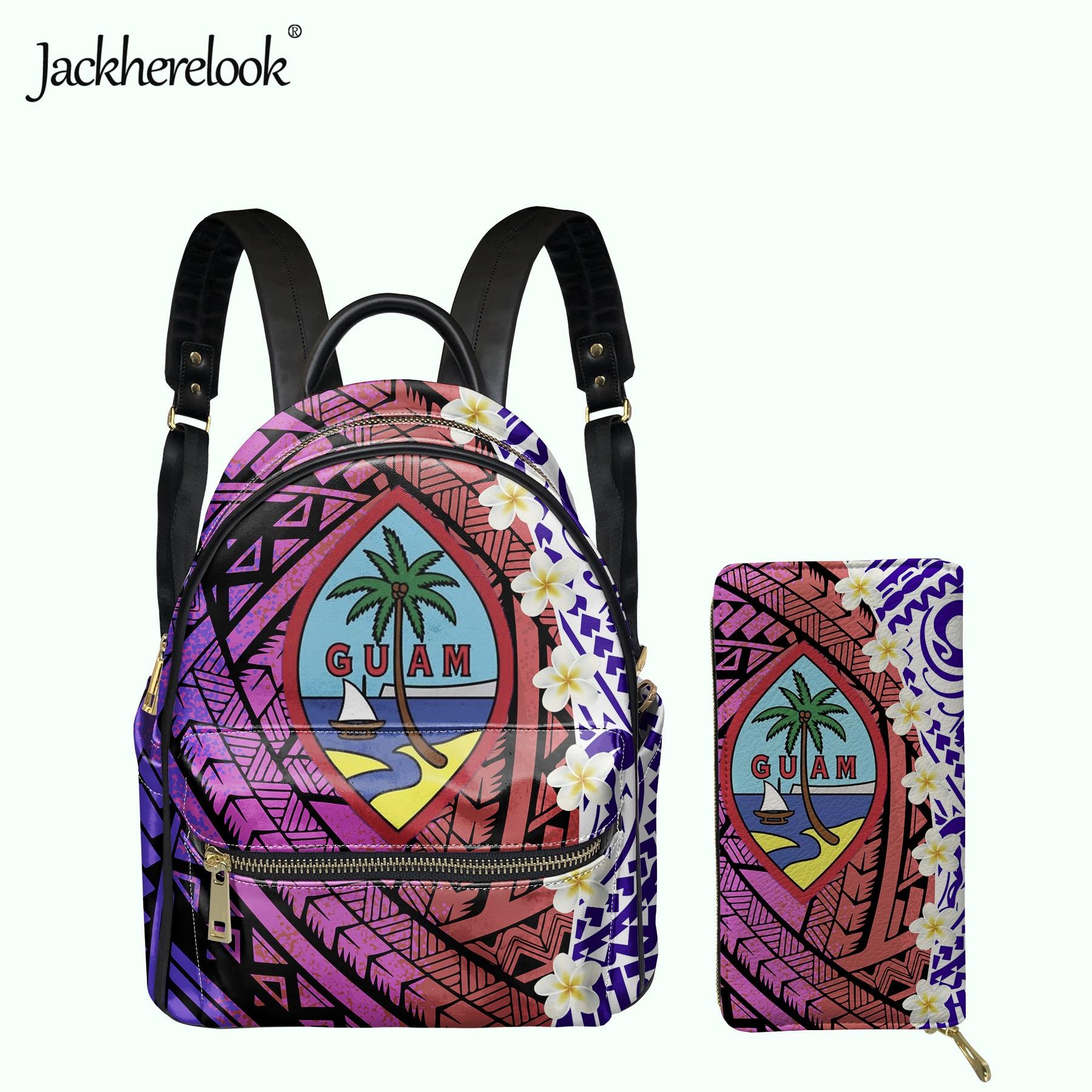 Jackherelook المرأة باكباك غوام بلاميريا بولينيزيا نمط الإناث حقيبة محفظة حمل بطاقات مجموعة الفتيات حقيبة مدرسية صغيرة Mochila