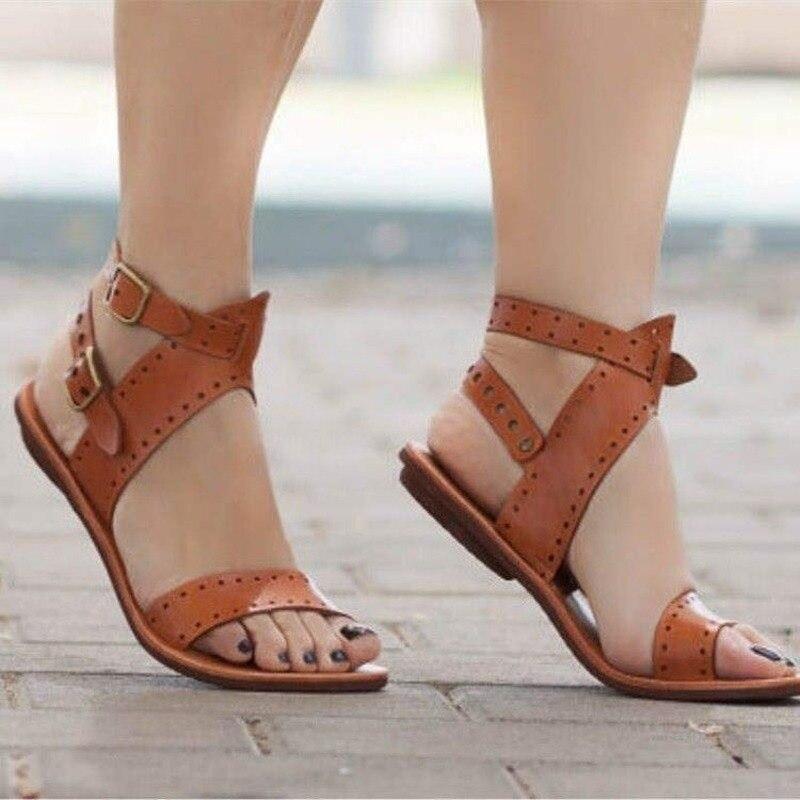Sandálias femininas sandálias de couro gladiador plana sapatos de verão mulher estilo roma dupla fivela casual praia sandles plus size 35-43