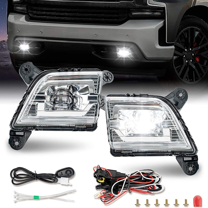 Bumper 1 Pair LED Fog Lights Drive Fog Lamps Compatible for 2019 2020 2021 Chevrolet Silverado 1500