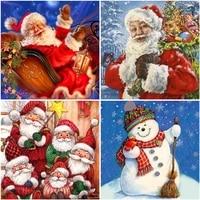 santa claus 5d diamond painting snowman full roundsquare resin mosaic diamond embroidery cross stitch christmas decoration